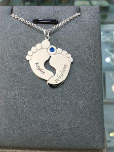De Echte Zilveren Tegenhanger Neckalce van Voetafdruk onlangs 925 met het Embleem van de Naam