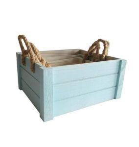 خشبيّ تخزين معمل سلّة مع قنّب حبل مقبض