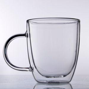Tazza di caffè di vetro doppia termoresistente con la maniglia
