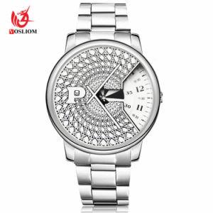 La Malla de Acero Inoxidable Relojes de cuarzo de tornamesa reloj hombre reloj de pulsera #V438