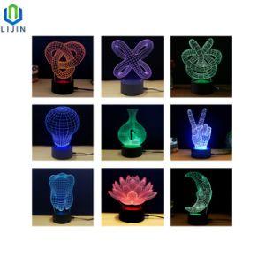 Noche de Luz LED 3D de la luz de ilusión óptica