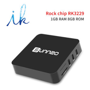 Sunnzo G8 androider intelligenter Fernsehapparat-Prokasten mit Speicher-Support 4K 1080P, 2.4GHz WiFi des Roch Chip-Rk3229 1GB Memory/8GB