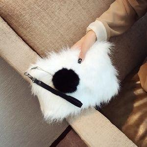[إيفريند] 2018 نمو فصل خريف شتاء نساء غلاف كتف رسول حقيبة أرنب شعر حقيبة يد جلد [كروسّبودي] حقيبة