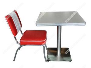 Retro 1950 Comedor mesa de comedor y una silla, franja roja personalizada Silla de Comedor estilo retro de cuero y el cuadrado de madera contrachapada de tabla