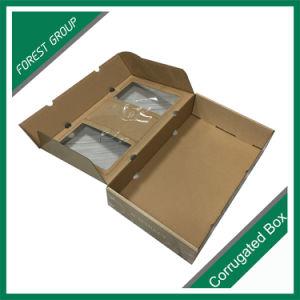 La parte superior e inferior de caja de regalo con ventana transparente