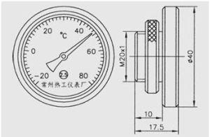 Medir la temperatura del termómetro bimetálico para el uso de máquinas textiles