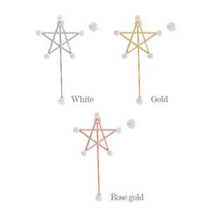 3 Oorringen van de Nagel van de Ster van de Parel van kleuren de Witte Tweezijdige