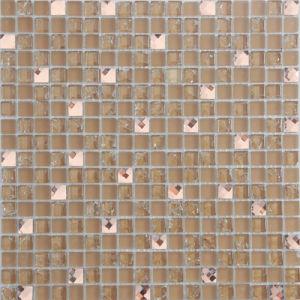 Souterrain bon marché/tuile de mosaïque en verre beige utilisée par mur avec le certificat de la CE