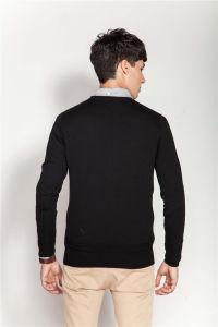 Cuello redondo bordados tejer camiseta para hombres