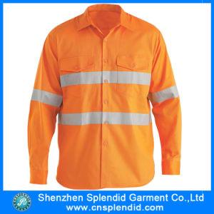 Camicia riflettente arancione esterna del poliestere di sicurezza degli uomini dell'OEM