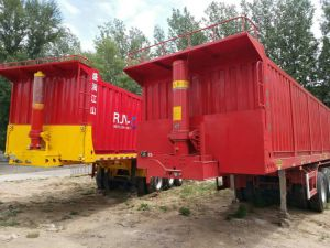 3 rimorchio idraulico a base piatta del deposito del contenitore degli assi 20FT