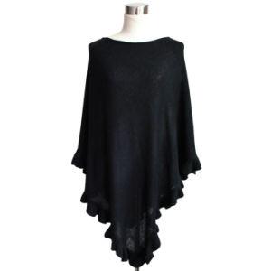 Fashion Acrylic Knitted Ruffleの女性ポンチョ(YKY4107-2)