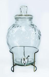 Muy barato, dispensador de zumo de vidrio con soporte de acero