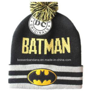 工場農産物はデザイン漫画の黒のジャカードニットの冬のスキー帽子の帽子をカスタマイズした