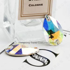 極度の明るいAbカラー結婚式のアクセサリ手は低下のラインストーンの大きい宝石の平背の水晶(5A低下の水晶ab)で縫う