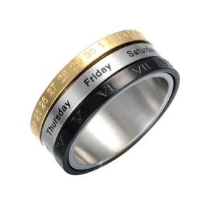 Мода мужчин ювелирные изделия из нержавеющей стали о дате и времени кольцо Ювелирные изделия