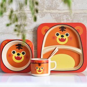 Regalos promocionales Diseño de dibujos animados de vajillas de fibra de bambú Set Vajilla para niños