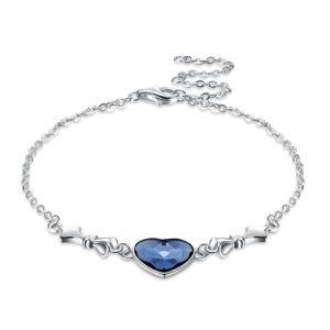 Novo Design de prata 925 Libra Esterlina bracelete de prata com o charme do coração