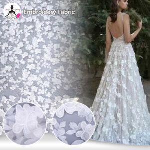 Bordados luxuoso casamento Flores 3D de marfim Haute Couture Lace Fabric