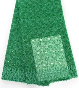 高品質は多くアフリカの衣服のための刺繍によって玉を付けられるレースファブリックを着色する