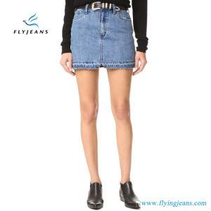 921be1d85 Damas clásico azul de moda Jeans mezclilla mujer faldas minifalda (E ...