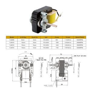 3400rpm aprobación Ce Polo sombreado Motor eléctrico para Electromagnetic-Brake/nevera ventiladores