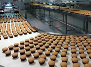 Grau alimentício o transportador de correia para bolos, biscoitos, pão