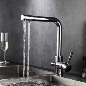 3 Forma de flujo de agua filtrada por canales separados cocina grifo mezclador
