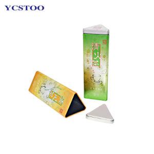 Forma de triángulo del café té lata de metal personalizados de pluma de grado alimentario Embalaje