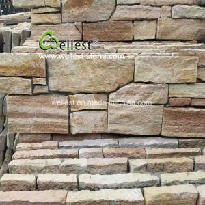 Grès jaune Ledgestone placage de parement en pierre naturelle pour
