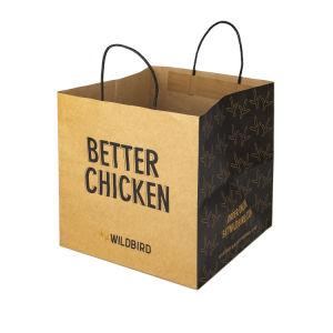 Bolsa promocional reciclable personalizada bolsa de papel Kraft de compras de alimentos con asa