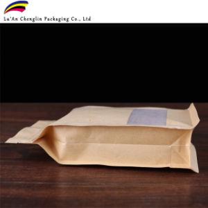 Stand up Pouch bolsa de papel kraft para picar con cremallera