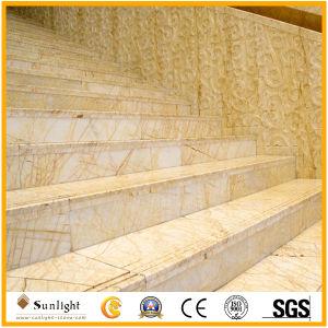 磨かれた金くもの大理石、金の静脈が付いている白い大理石のタイル