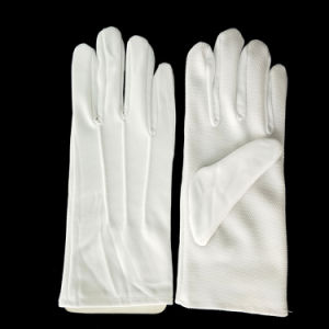 PVC Anti-patinage DOT Palm Parade militaire armée blanche des gants en nylon