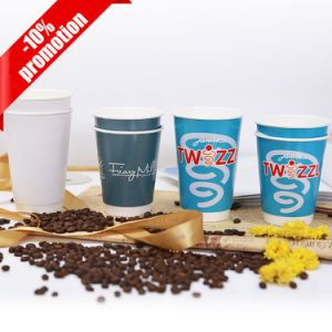 100% Compostable PLAのコーヒー使い捨て可能な二重壁の紙コップ