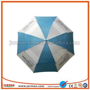 白くおよび青の二重層の耐久のゴルフ傘