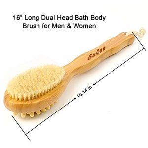Sucooによる背部スクラバーのためのタケ浴室のブラシは、自然な剛毛マッサージの剥離の皮及び木ビードのために優秀な長いハンドルが付いているブラシを支持する-ぬれたまたは使用しなさい