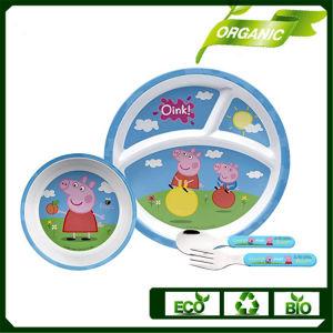 熱い販売法の子供及び子供のためのタケファイバーの食事用食器セット