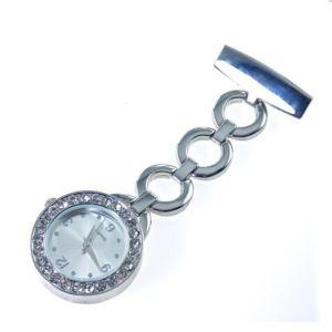 Plata caliente Bling enfermeras Watch con Círculo de banda y los diamantes