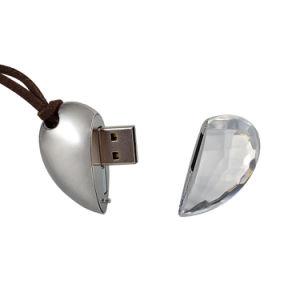 Pietra preziosa del cuore del metallo di modo del USB dell'azionamento esterno di cristallo dell'istantaneo