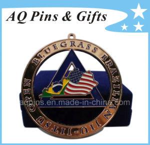 Kundenspezifisches Engarved sterben getroffenes Messingfirmenzeichen-Metallmedaillon metallfertigkeit USA-Bluegrass (192)