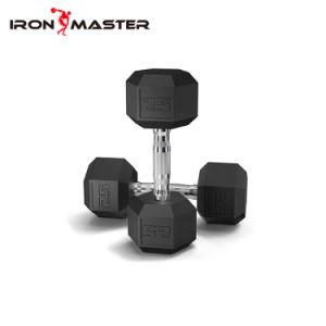 Recubierto de caucho hexagonal de fundición de acero sólido pesas pesas para tonificación muscular, entrenamiento de cuerpo completo gimnasio en casa