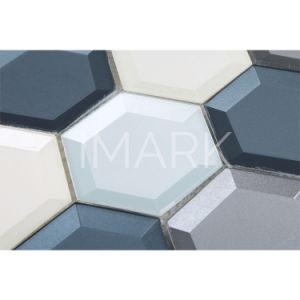 Cor dos vapores de mosaico de vidro hexagonal mistos para cozinha ladrilho painel contra salpicos