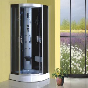 El cuarto de baño ducha de vapor en el interior de la esquina de la bandeja alta