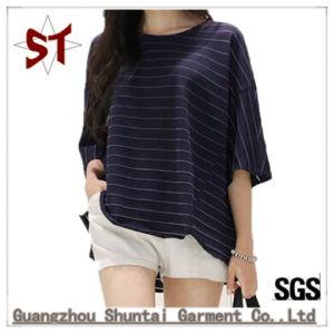 도매는 여자를 위한 짧은 소매 t-셔츠를 줄무늬로 한다