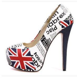 Mot de riz de la bouche peu profonds de gros drapeau britannique étanche avec de minces super haute plate-forme de nouvelles chaussures Dames