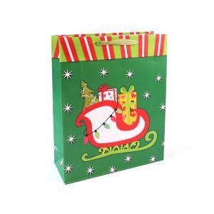 Chaussette de Noël vert Sac de papier, sac de papier cadeau