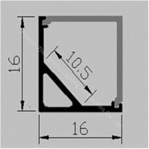 Ángulo de 16mm cuadrados de aluminio Perfil de LED vía TIRA DE LEDS con Spray Negro/Blanco