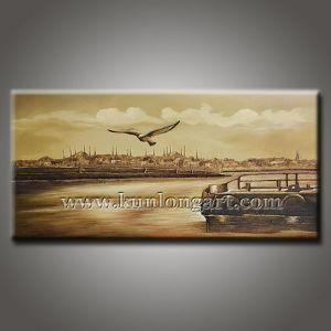 Modern van de Kunst Cityscape/van het Zeegezicht Olieverfschilderij (klcp-0011)