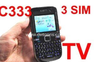 Il telefono mobile della TV con tre SIM carda metallo chiaro della torcia il Tri-SIM (C333)